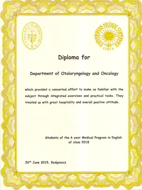 Dyplom dla zespołu Katedry Otolaryngologii i Onkologii Laryngologicznej oraz Zakładu Patofizjologii Narządu Słuchu i Układu Równowagi