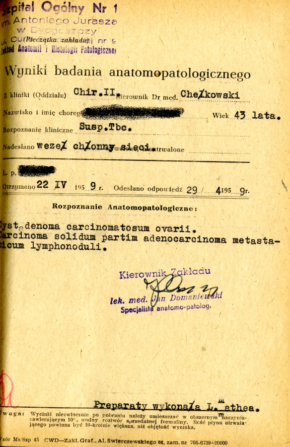 dokument podpisany przez prof. Jana Domaniewskiego pozostający do dzisiaj w archiwum Zakładu (fot. 1)